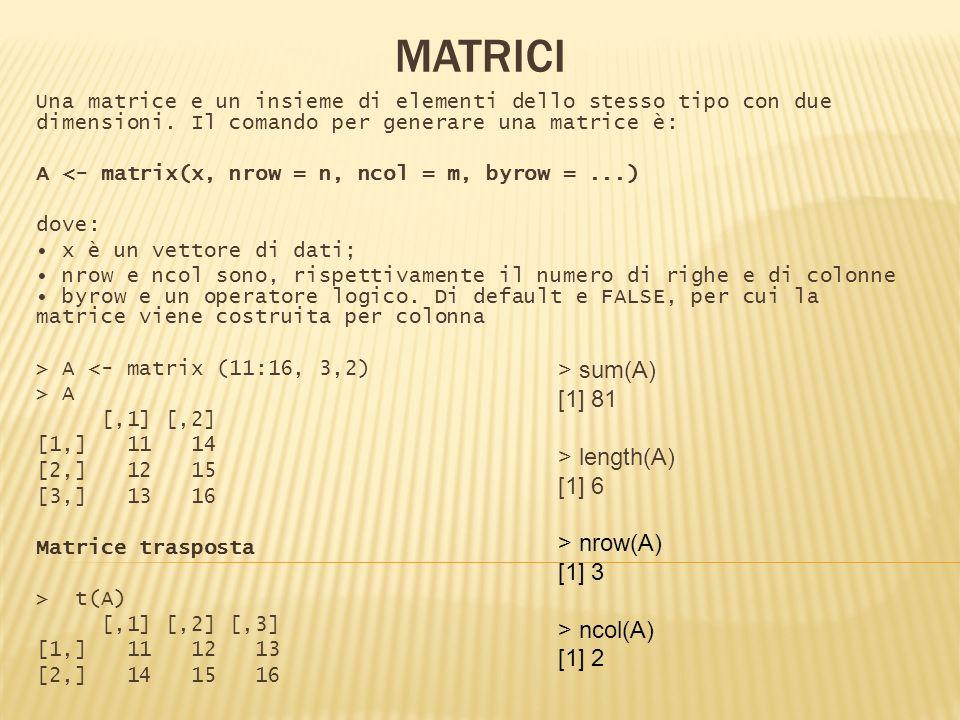 MATRICI > sum(A) [1] 81 > length(A) [1] 6 > nrow(A) [1] 3